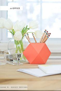 DIY geometric pencil holder