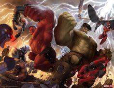 Hulk and Red Hulk.