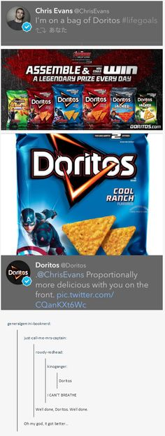 Chris Evans on a dorito bag | Doritos responds//Sorry for the language but YES omw. *dies laughing*