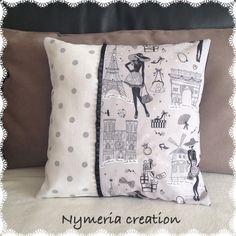 housse de coussin chic et retro la parisienne n 5 et tissus noir et rose pois textiles. Black Bedroom Furniture Sets. Home Design Ideas