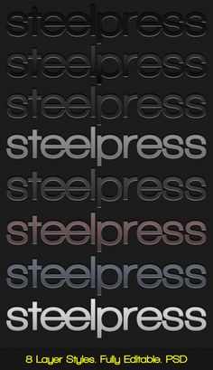 Steelpress  Unique Photoshop Styles/Text — Layered PSD #stainless steel #steel • Available here → https://graphicriver.net/item/steelpress-unique-photoshop-stylestext-/132955?ref=pxcr