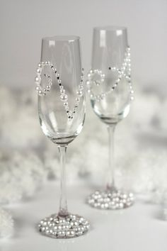 Pearl and crystal wedding champagne flutes by DiAmoreDS on Etsy