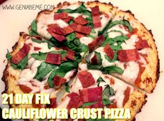 Cauliflower crust pizza recipe that can be made for 21 Day Fix! via www.geniabeme.com (visit for more #21dayfix recipes!)