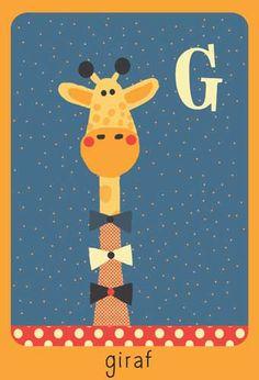 Alfabet print - G - Giraf - Pimpelpluis - https://www.facebook.com/pages/Pimpelpluis/188675421305550?ref=hl - (nursery print illustration kids children art poster dieren kinderen cute illustratie animal alphabet) vintage abc cards