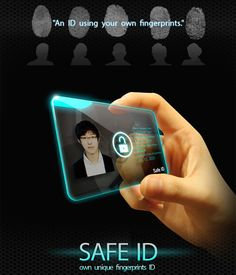 Safe ID keeps your ID safe by using your own fingerprints. Only your fingerprints allows you to access the information on the card. Click to read more about this awesome concept. #safety #personal_security #YankoDesign