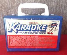 #Vintage 1988 set of 10 #Denon #karaoke multi-sound #cassette   #tapes in blue carrying case #oldies