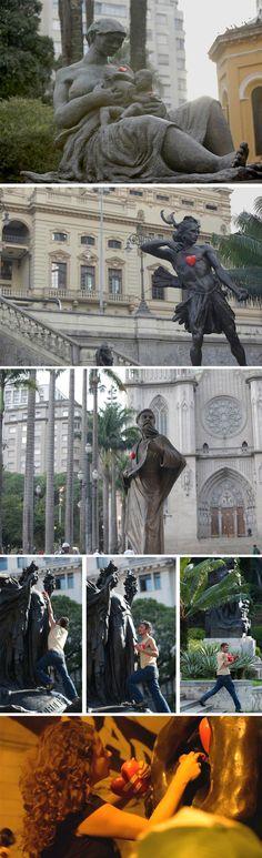 o projeto Aqui Bate Um Coração espalha corações de isopor em monumentos de São Paulo.