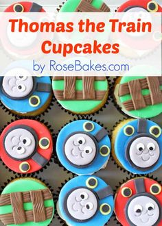 Thomas the Train Cupcakes.  Details for how to make these here: http://rosebakes.com/thomas-the-train-cupcakes/