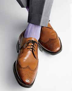 Pale purple socks with grey pants and brown shoes Sock Shoes, Men's Shoes, Shoe Boots, Dress Shoes, Taupe Shoes, Shoes Style, Shoes Men, Sharp Dressed Man, Well Dressed Men