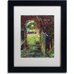 Trademark Fine Art Wicket Garden Gate Canvas Art by David Lloyd Glover, White Matte, Black Frame, Size: 16 x 20