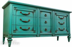 SOLD-Teal Chalk Painted Mid Century Dresser, Media Console, Buffet or Sideboard