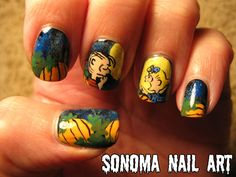 "Linus and Sally in the pumpkin patch from ""It's The Great Pumpkin, Charlie Brown!"" Nail art"