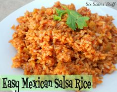 Easy Mexican Salsa Rice:  2 cups instant brown rice,  2 cups water,  1 envelope enchilada sauce mix or taco seasoning,  1 cup salsa,  1 (4 oz) can green chilis. Combine all ingredients & Microwave on high for 8-9 min, or til rice tender. Let sit for 3-5 min & it will soak up most of the liquid in the bowl. Fluff with a fork and serve. gm