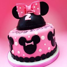 *Minnie Mouse themed cake for a 2 year old girl