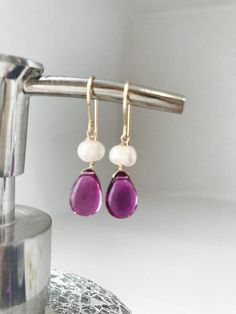 Items similar to Valentine's Day gift Pink Earrings Pearl Earrings, Gemstone Earrings Dangle Earrings October Birthstone October Birthday on Etsy Pink Earrings, Simple Earrings, Bead Earrings, Pearl Jewelry, Diy Jewelry, Fashion Jewelry, Unique Jewelry, Jewelries, Necklaces