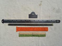 Lot of 5 Vintage Letterpress Rulers Brass Metal Etc 6 & 12 Pt Marked Star Rouse