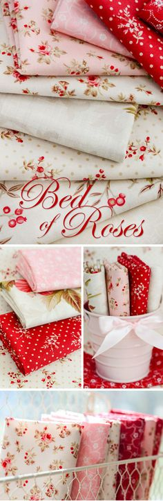 Bed Of Roses - Red Rooster Fabrics Classic and romantic, the Bed of Roses line from Red Rooster Fabrics is the perfect foundation for an elegant quilt or throw. Create a bedspread for a young girl or dream up a refined Valentine's Day quilt with this exquisite floral collection. This line by Gerri Robinson features designs like pink and red roses against an ivory background and a delicate white lattice against a soft green background.