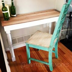 Old spindles and pallet wood table, and antiqued chair. #reclaimed #furniture #antiqued #pallet #wood #woodwork #interiordesign #custom #diy #table #chair #chic #upcycle #home #house