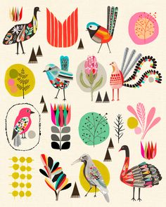 Folk art style birds of Australia by Kristina Sostarko + Jason Odd. Diy Tapete, Arte Sketchbook, Inspiration Art, Nursery Inspiration, Bird Illustration, Mountain Illustration, Bird Art, Oeuvre D'art, Illustrators
