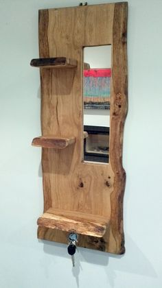 New August 2014!  Rustic Oak plank crafted into a hallway 3-tier shelf unit with embedded mirror and sunken rare earth magnets for holding keys.