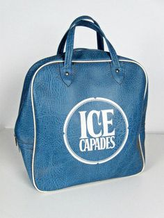vintage Ice Capades tote - blue and white carry on bag - 1970s-1980s. $24.00, via Etsy.