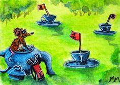 NFAC Original ACEO Watercolor Painting TEA TIME GOLF Mouse Tea Pot Course Clubs #Miniature