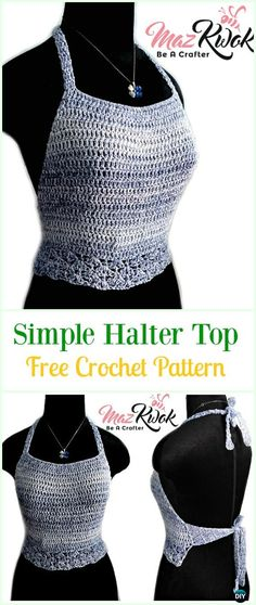 Crochet Simple Halter Top Free Pattern-#Crochet Summer Halter #Top Free Patterns