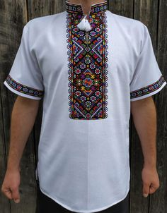Вишиванка, чоловіча вишита сорочка (Арт. 02350) Afghani Clothes, Cross Stitch Art, Bead Art, Embroidery Stitches, Men Casual, Mens Tops, T Shirt, Outfits, Fashion