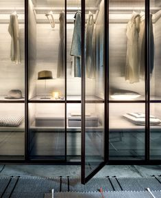Dandy closet designed by Officinadesign LEMA amazes with an innovative solution to use textile to create a wardrobe. Dandy is an unpretentious but elegant Glass Wardrobe, Walk In Wardrobe, Bedroom Wardrobe, Master Bedroom, Walk In Closet Design, Wardrobe Design, Closet Designs, Kitchen Glass Doors, Kitchen Cupboard