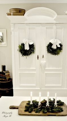 Beautiful white armoire dressed for Christmas (from Dreams Come True)