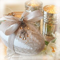 Handmade Shabby Chic Easter Eggs by Inger Harding.--(Check out Inger's pinterest boards for more examples of her beautiful work!)