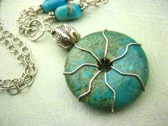 Turqupise Donut Pendant Wire Wrapped Gemstone Necklace by sofoola, $40.00