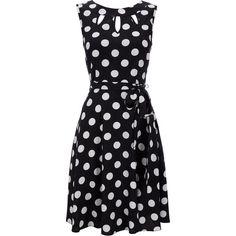 Black Polka Dot Petite Dress ($70) ❤ liked on Polyvore featuring dresses, vestidos, polka dots, black, petite, polka dot dress, wallis dresses, cut out dresses, petite dresses and dot dress