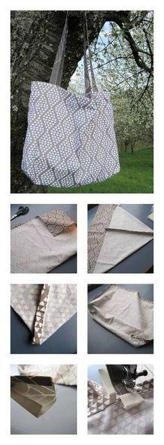 Für die Stofftasche braucht ihr ein großes Geschirrtuch und zwei 7 cm breite und ca. 80 cm lange Streifen aus festem Webstoff in der passenden Farbe. Da man ganz ohne Abstecken und Versäubern auskommt, ist sie in etwa 15 Minuten genäht. Der Clou: Durch zwei Abnäher erhält die Tasche einen Boden. Das schafft mehr Stauraum und man hat den Taschen-Inhalt besser im Blick.