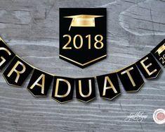 Black and Gold Graduation Banner Graduate Bunting Flags Graduation Banner, Graduation Year, Graduation Celebration, Graduation Decorations, Graduation Images, Preschool Graduation, Party Supplies, Craft Supplies, Bridal Shower Scrapbook