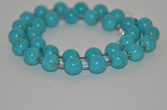 $42.00  Magnesite Turquoise and Czech Bead Necklace and Earring Set by ItsTheBeads.  20% OFF SITEWIDE.
