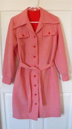 Vintage 60s Dress Red Mod Checker Print L XL $39.99