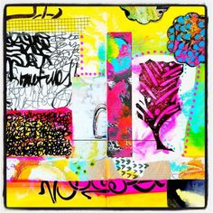 art journal page - Mixed media art journal fun with @mbshaw's @stencilgirl_products, @alteredstatesstudio's #dreamthicket #rubberstamps, @raemissigman's printable art and @robenmarie's #artpops! #artjournal #artjournaling #mixedmedia by marycnasser http://ift.tt/1TrMz4P