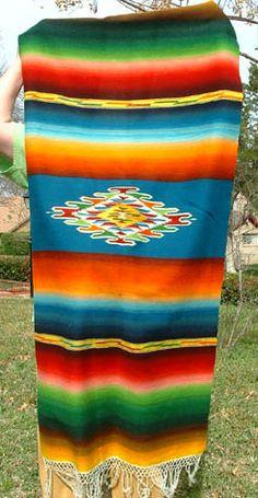 Vintage Mexican Textile Handwoven Saltillo Serape