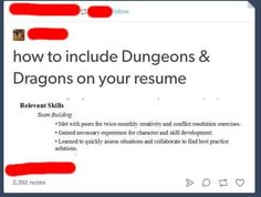 Dungeon and dragons resume