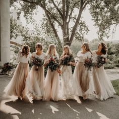 When the light is dappled & the bridal squad look fierce . Image by @ashermariephotography