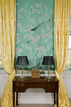 Love a bold wallpaper!  Turquoise Gracie paper #MOS