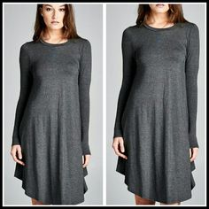 Essential dress in charcoal size L Beautiful dress in rayon and spandex  Size L Also available in black and Burgundy  Price Firm Boutique  Dresses Long Sleeve