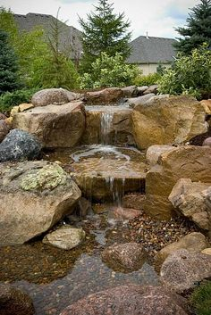 Pondless waterfall,  really a great way to have water and not the fish or the pond.