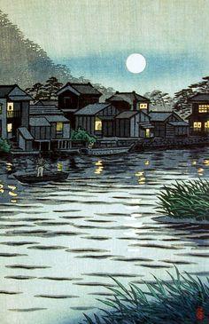 Rising Moon at Katase River, by Shiro Kasamatsu, 1953: