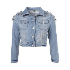 Washed Denim Jacket With Spiked Shoulders In Cropped Length ($179) ❤ liked on Polyvore