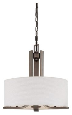 Three-Light Chandelier In Oiled Bronze Finish With White Cotton Weave Fabric Shade.