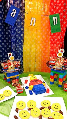 Fun cake and cookies at a Lego birthday party! See more party planning ideas at CatchMyParty.com!