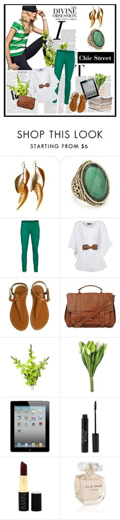 """""""A Green Day"""" by dreamy-girl1 ❤ liked on Polyvore featuring Juicy Couture, Gilded Lily Goods, Citizens of Humanity, Jane Norman, Bruuns Bazaar, Proenza Schouler, Vera Wang, Stila, Iman and Elie Saab"""