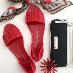 HP Bright red Chinese Laundry jelly flats These are insanely cute. Seriously. Fire engine red d'Orsay jellies? With spikes? YES, PLEASE! Made for narrower feet. NWOT; never worn. In original box. Chinese Laundry Shoes Flats & Loafers